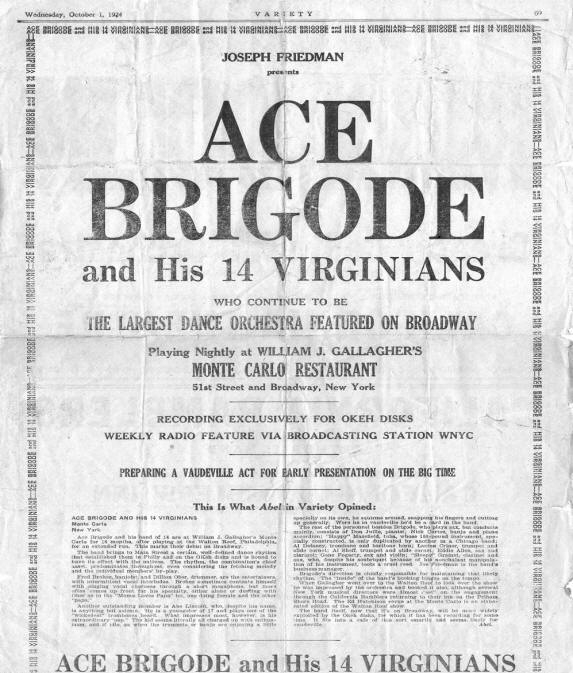 Ace Brigode - Variety October 1st, 1924