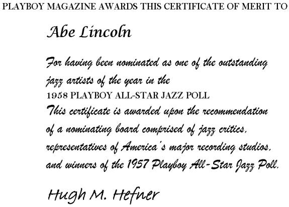 Playboy Jazz Poll Nomination Certificate 1958